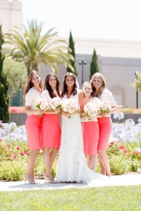 Coral Skirts with White Shirts from Pinterest