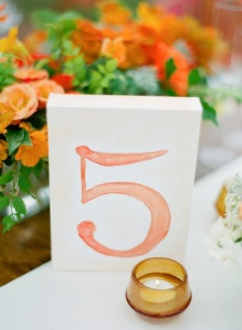 Coral Watercolor Table Number from Pinterest